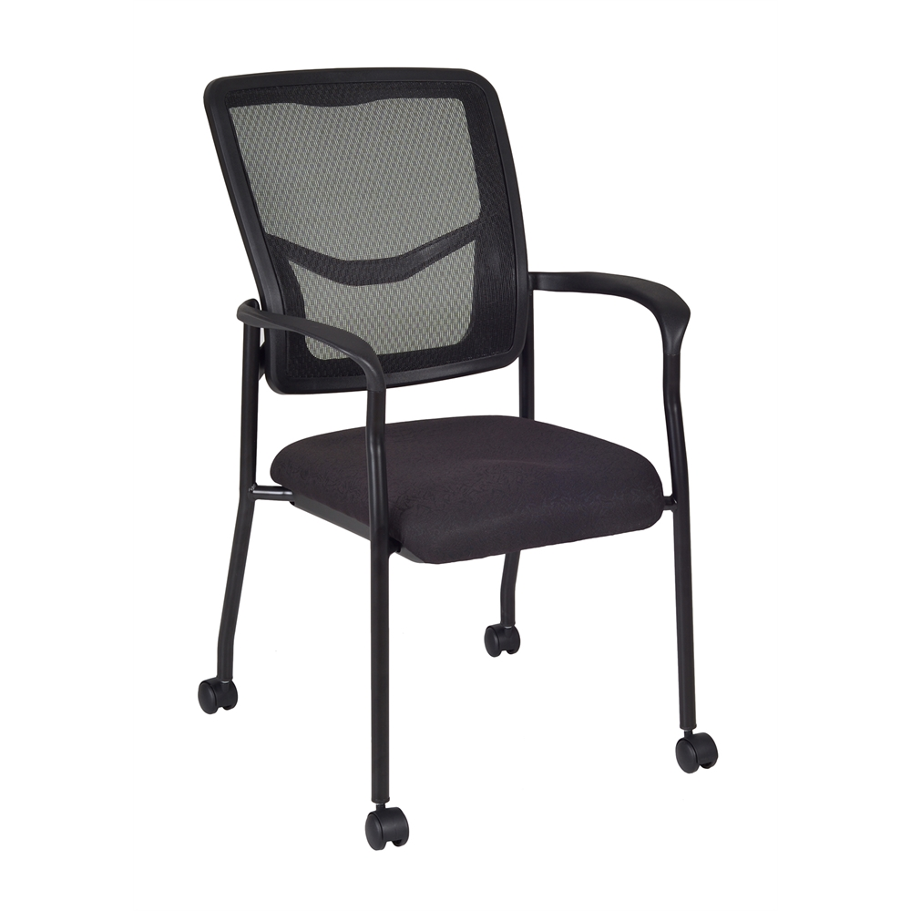 Kiera Side Chair with Casters- Black. Picture 1