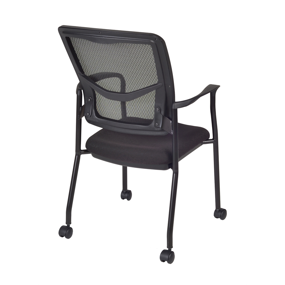 Kiera Side Chair with Casters- Black. Picture 2