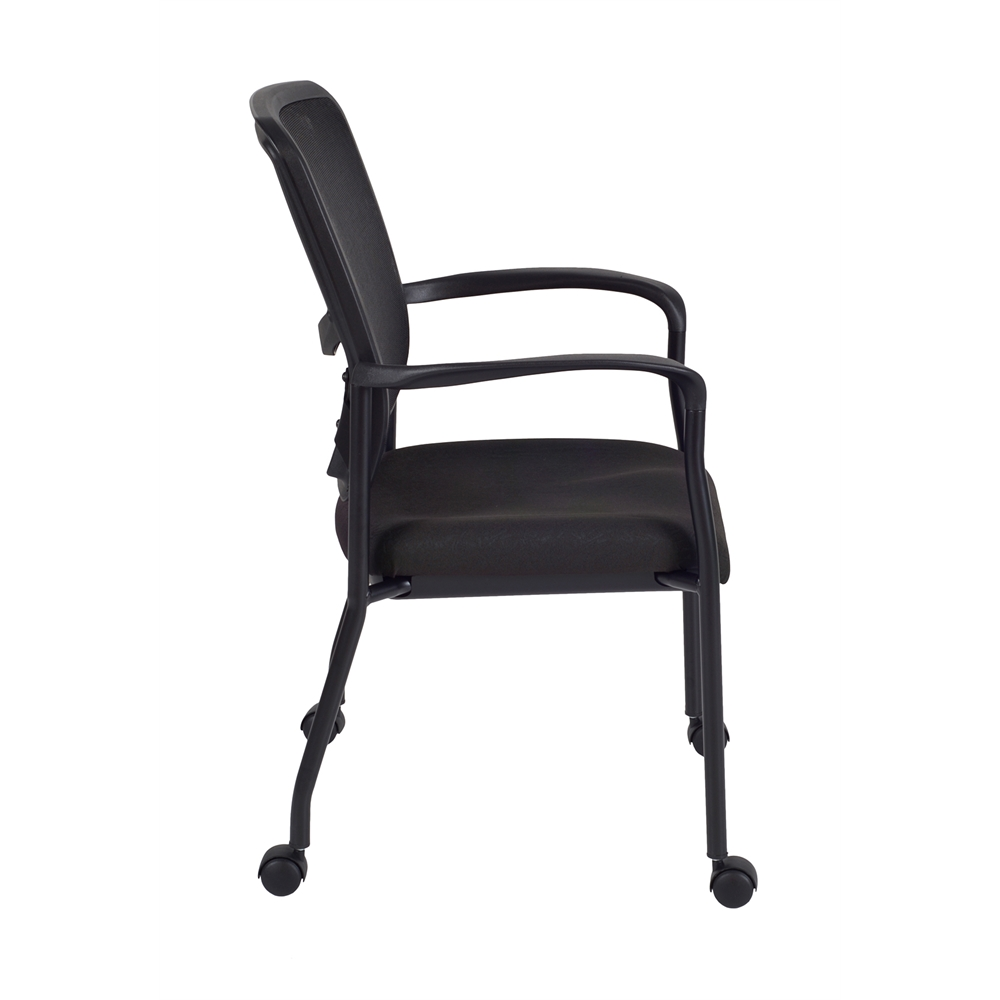 Kiera Side Chair with Casters- Black. Picture 3