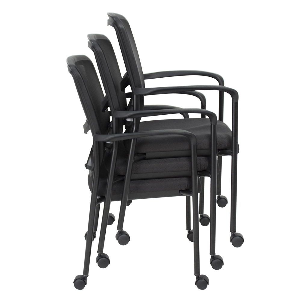 Kiera Side Chair with Casters- Black. Picture 4