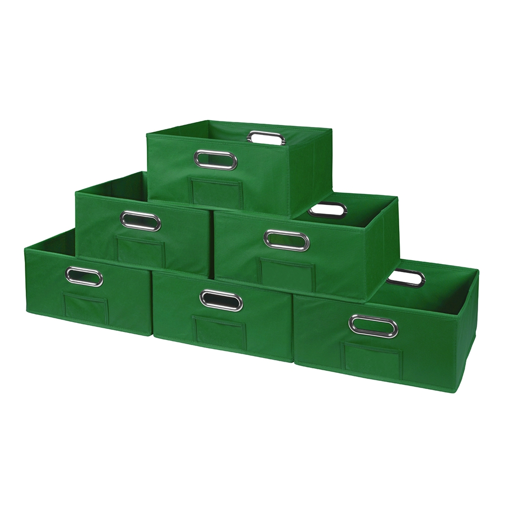 Cubo Set Of 6 Half Size Foldable Fabric Storage Bins Green