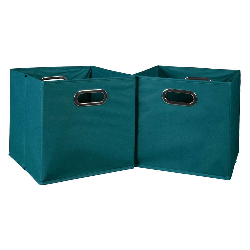 Cubo Set Of 2 Foldable Fabric Storage Bins Teal