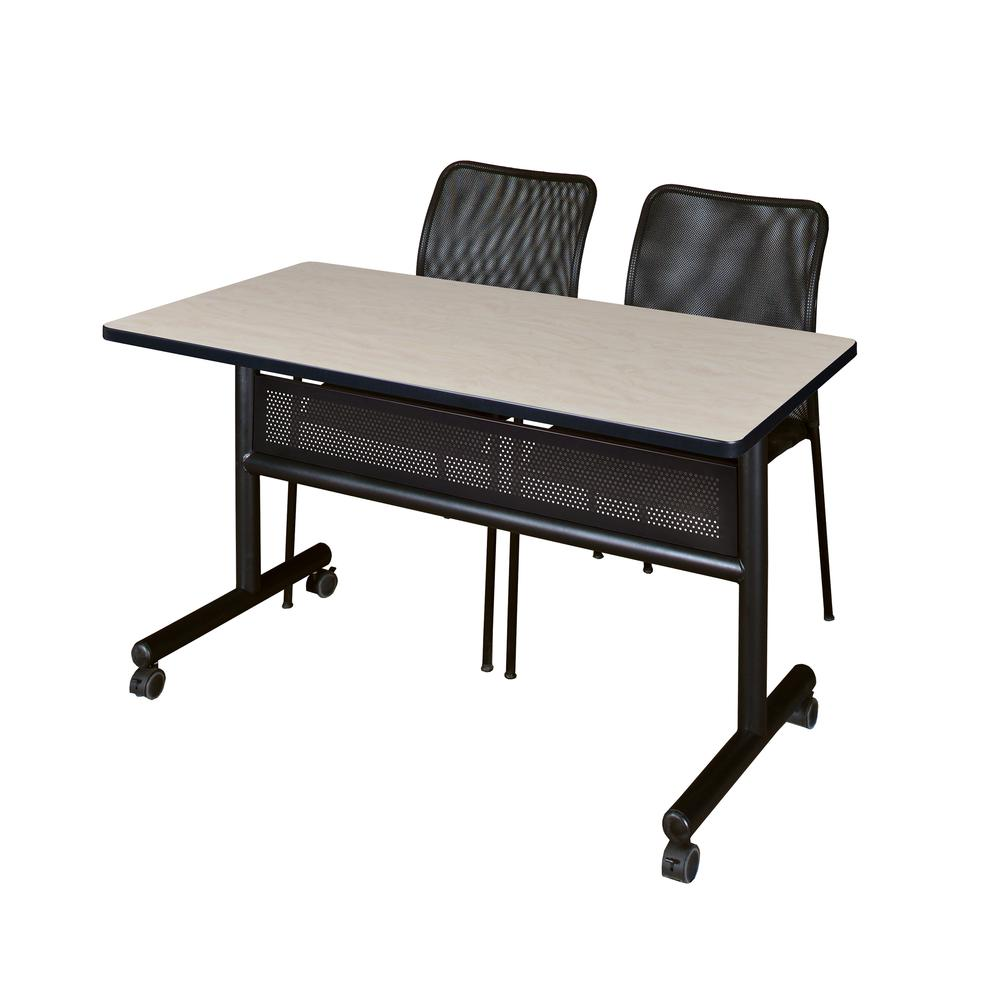 48 X 24 Flip Top Mobile Training Table With Modesty Panel And 2 Mario Stack Chairs