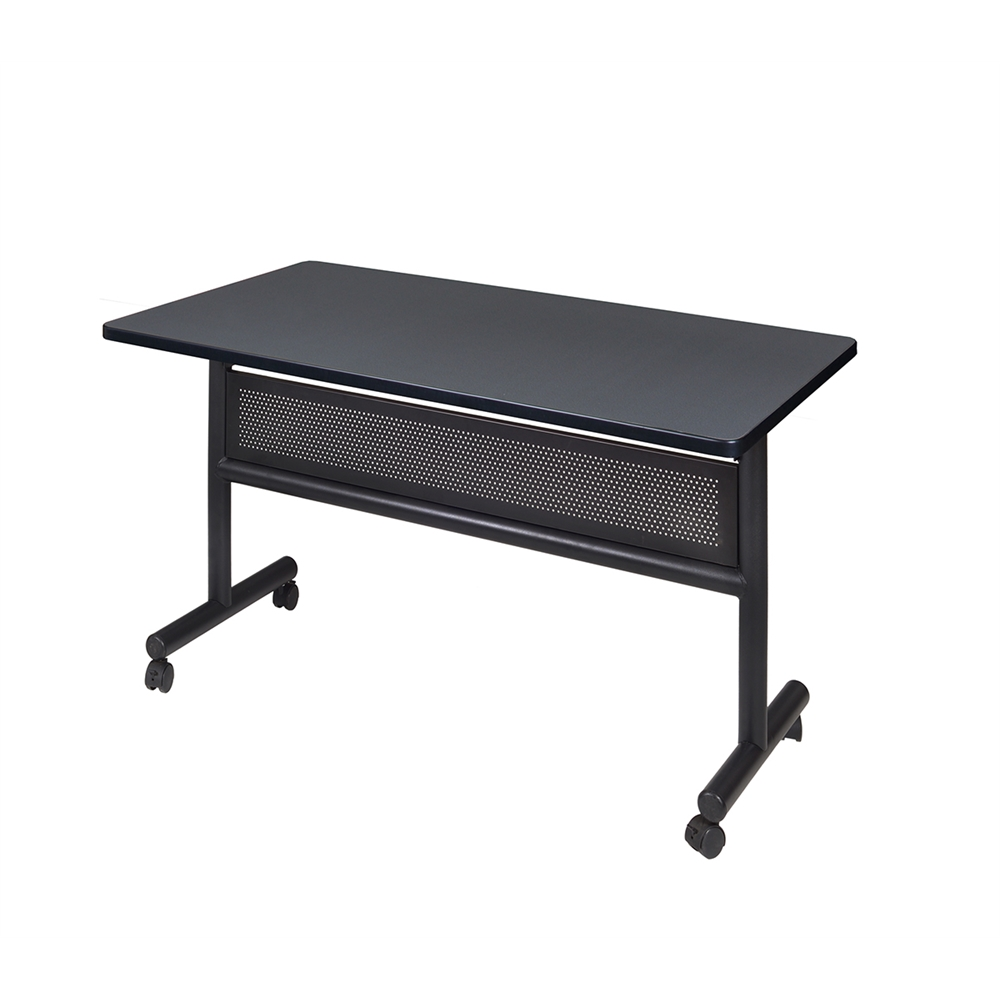 """Kobe 48"""" x 30"""" Flip Top Mobile Training Table with Modesty- Grey. Picture 1"""