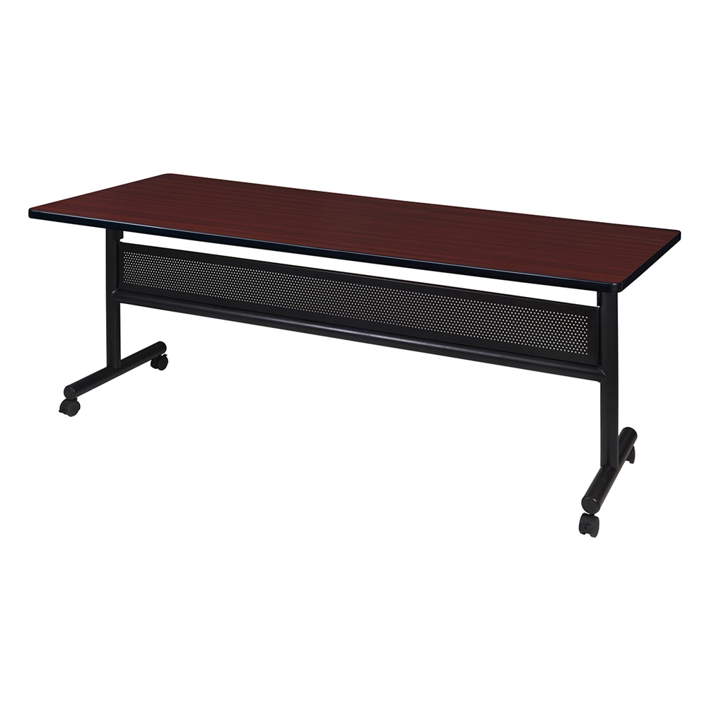"""Kobe 72"""" x 30"""" Flip Top Mobile Training Table with Modesty- Mahogany. Picture 1"""