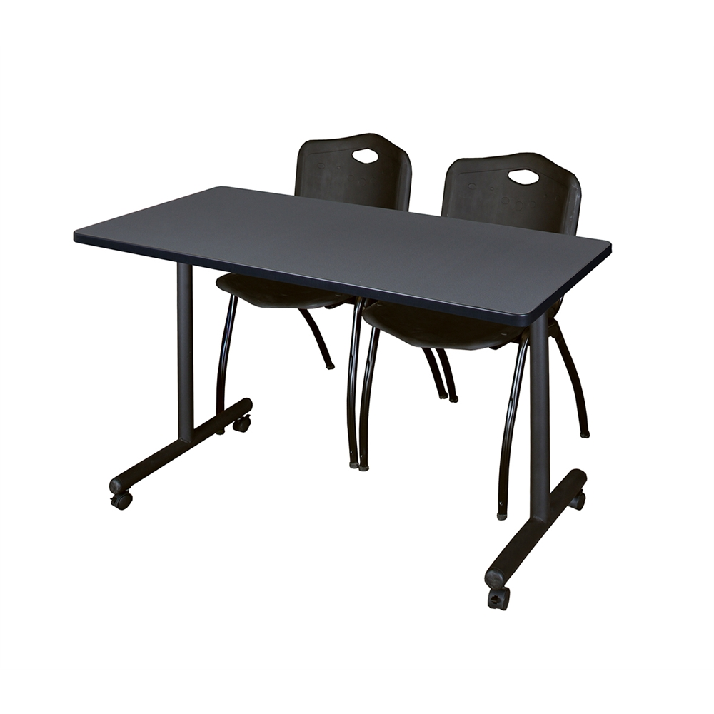 "48"" x 24"" Kobe Mobile Training Table- Grey & 2 'M' Stack Chairs- Black. Picture 1"