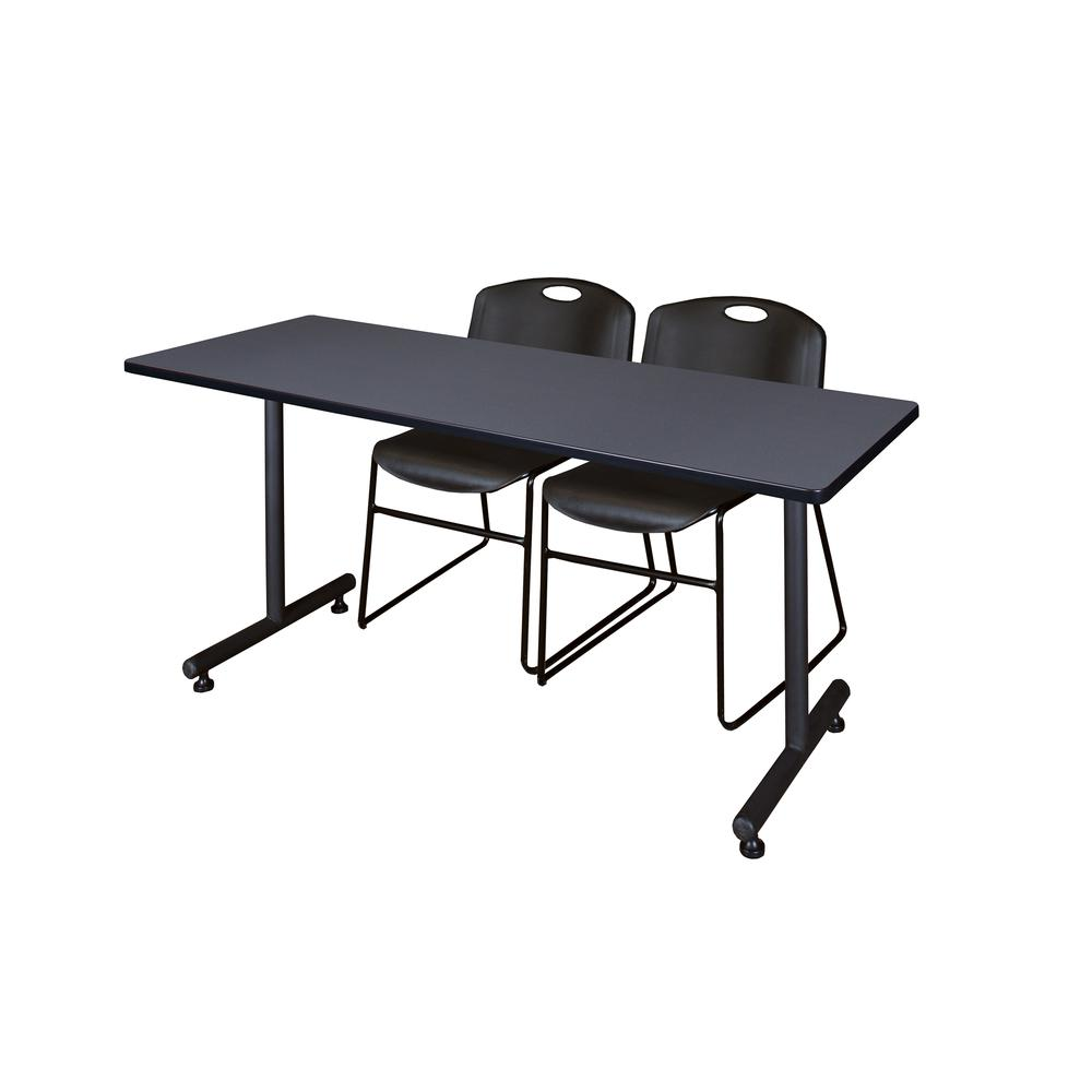 "60"" x 30"" Kobe Training Table- Grey and 2 Zeng Stack Chairs- Black. Picture 1"