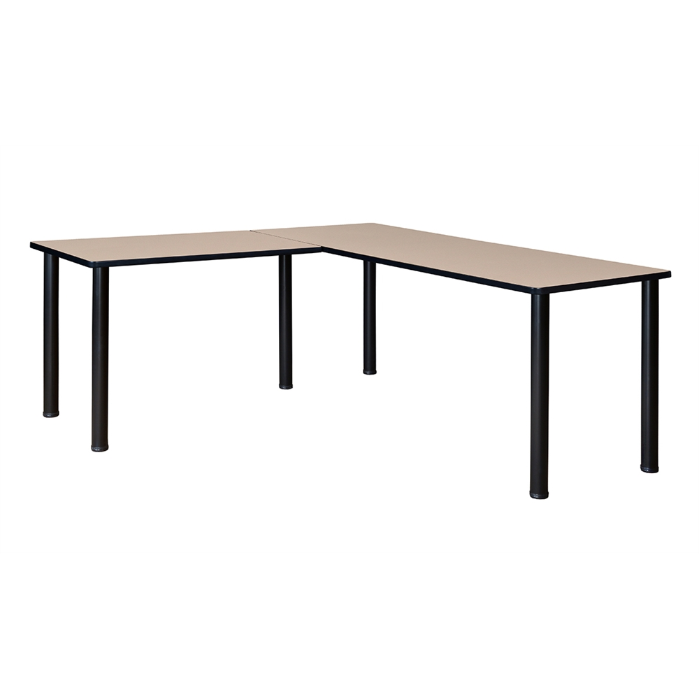 Kee 66 Quot L Desk With 42 Quot Return Beige Black