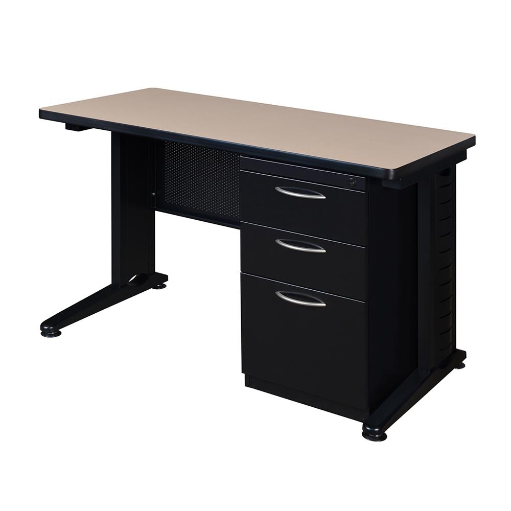Fusion 48 Quot X 24 Quot Single Pedestal Desk Beige
