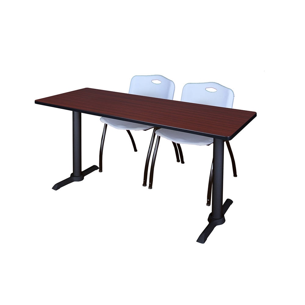 Cain X Training Table Mahogany M Stack Chairs Grey - Lorell flipper training table