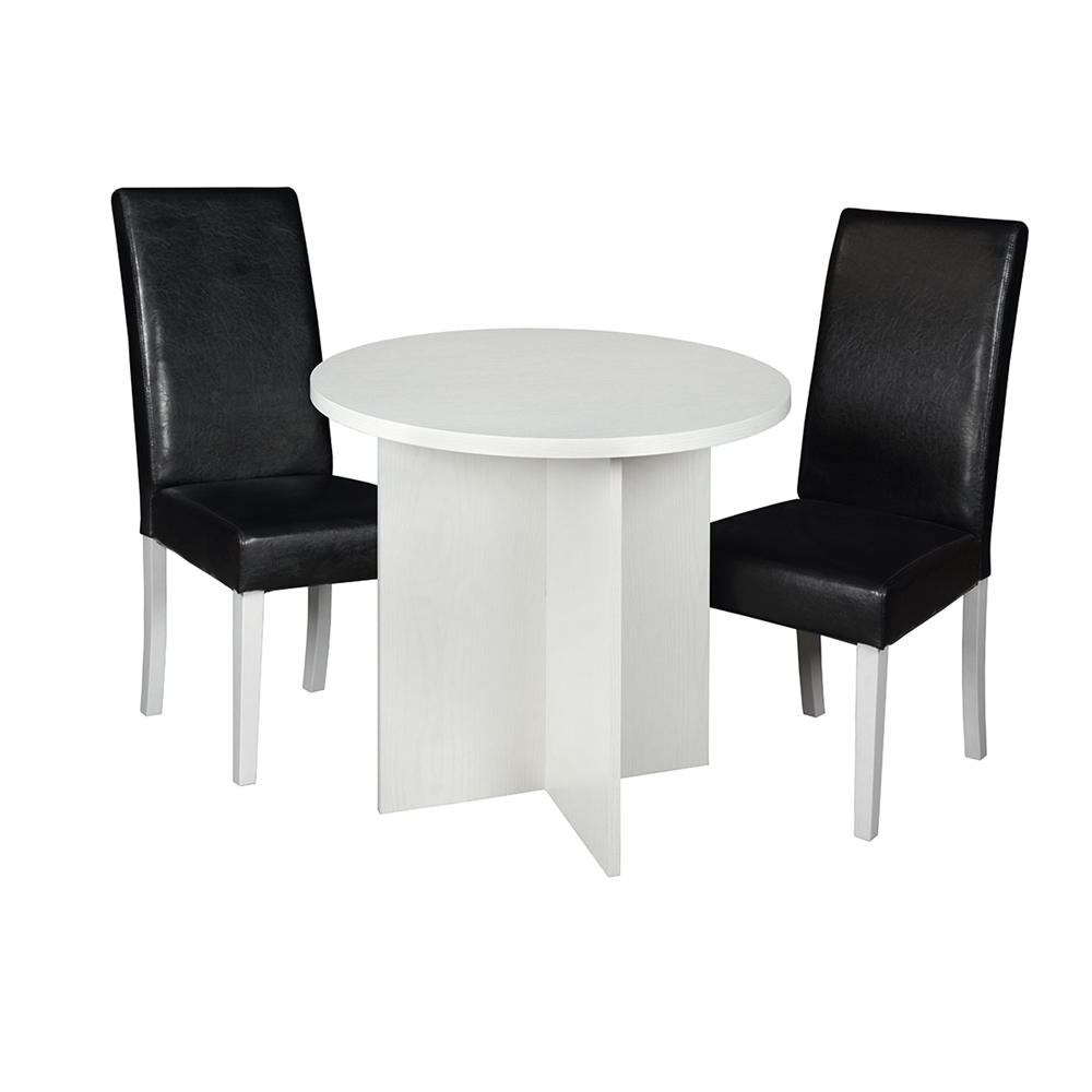 """Mod 30"""" Round Table- White Wood Grain & 2 Tyler Dining Chairs- Black/White. Picture 1"""