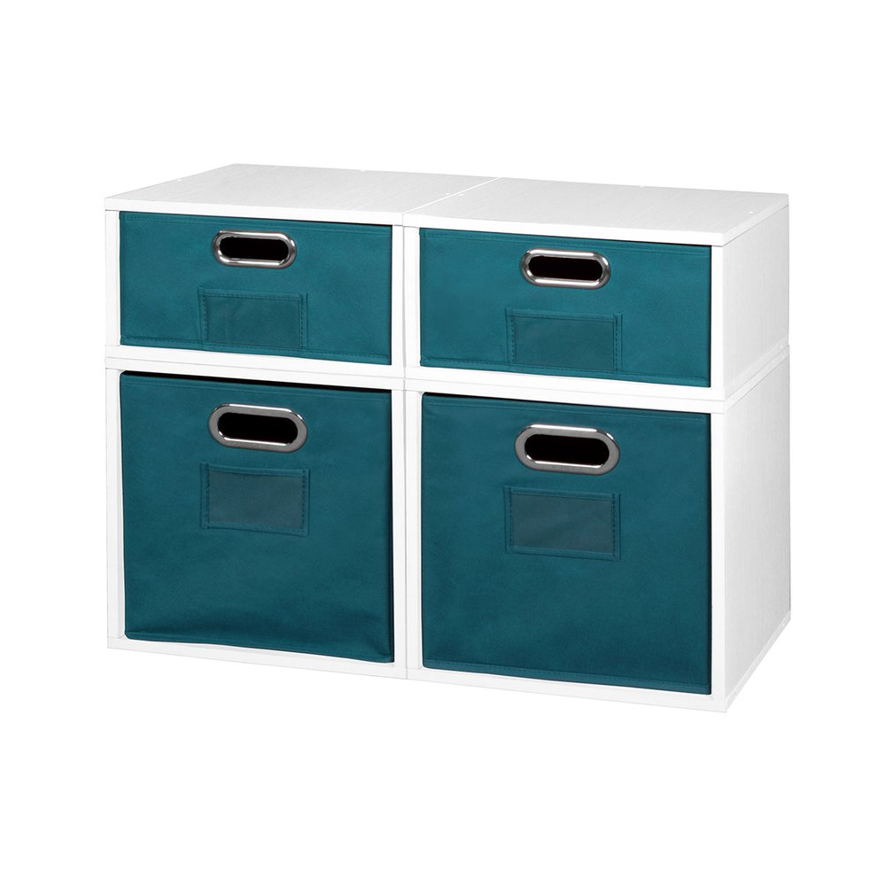 Niche Cubo Storage Set- 2 Full Cubes/2 Half Cubes with Foldable Storage Bins- White Wood Grain/Teal. Picture 1