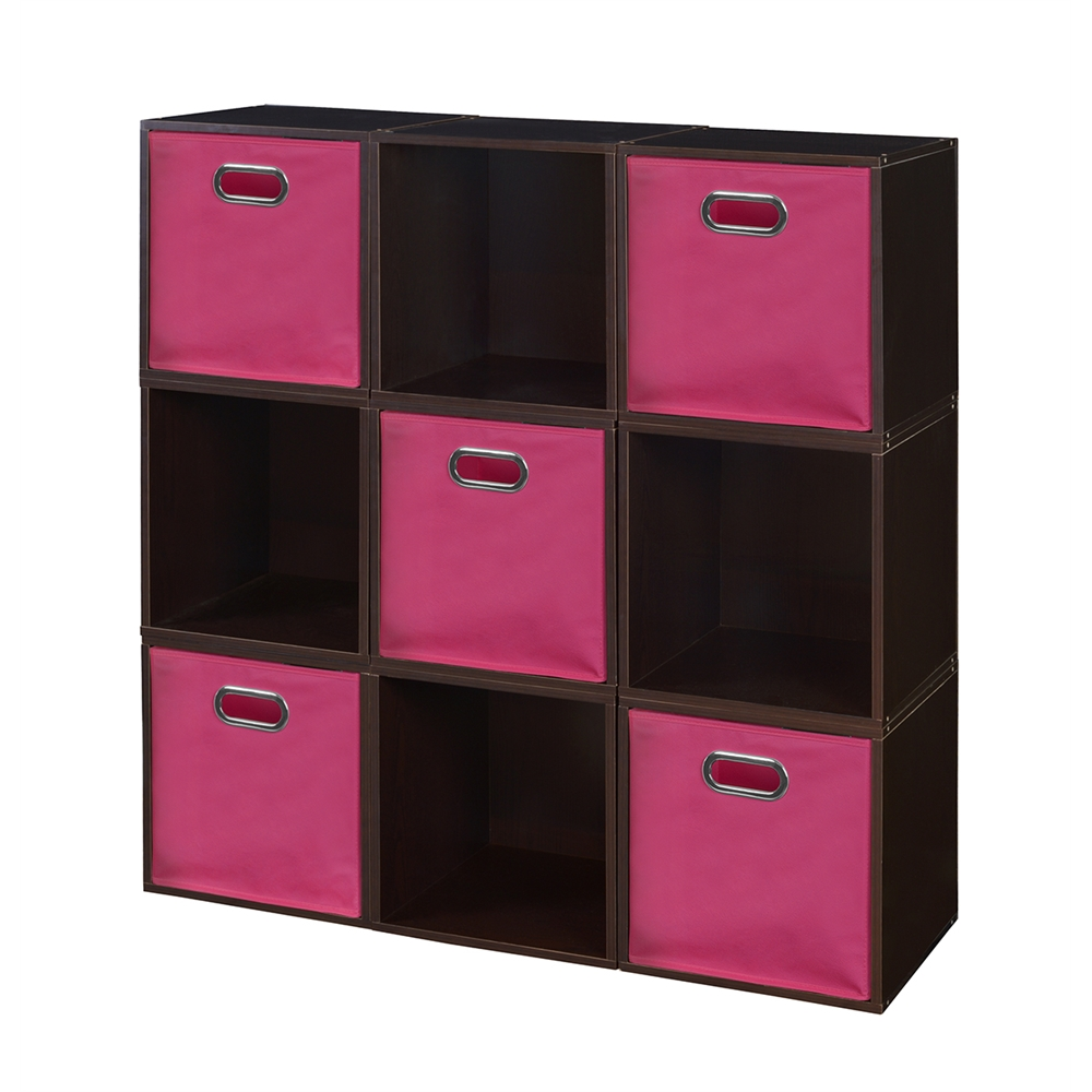 Cubo Storage Set 9 Cubes And 5 Canvas Bins Truffle Pink