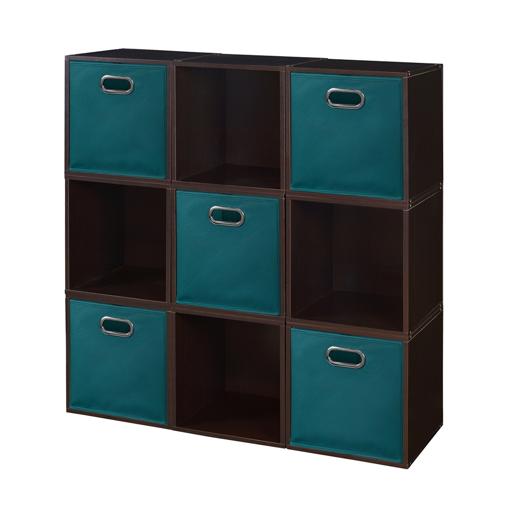Cubo Storage Set 9 Cubes And 5 Canvas Bins Truffle Teal
