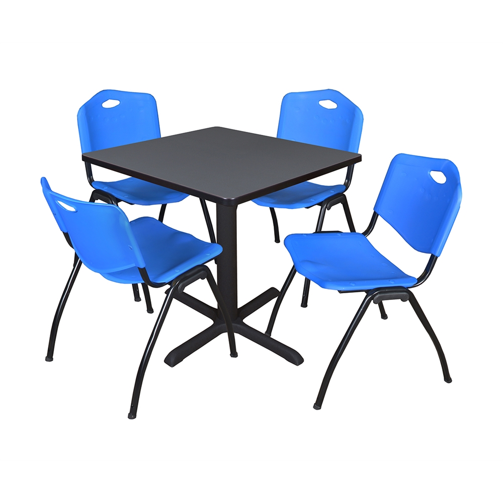 Cain 30 Quot Square Breakroom Table Grey Amp 4 M Stack Chairs