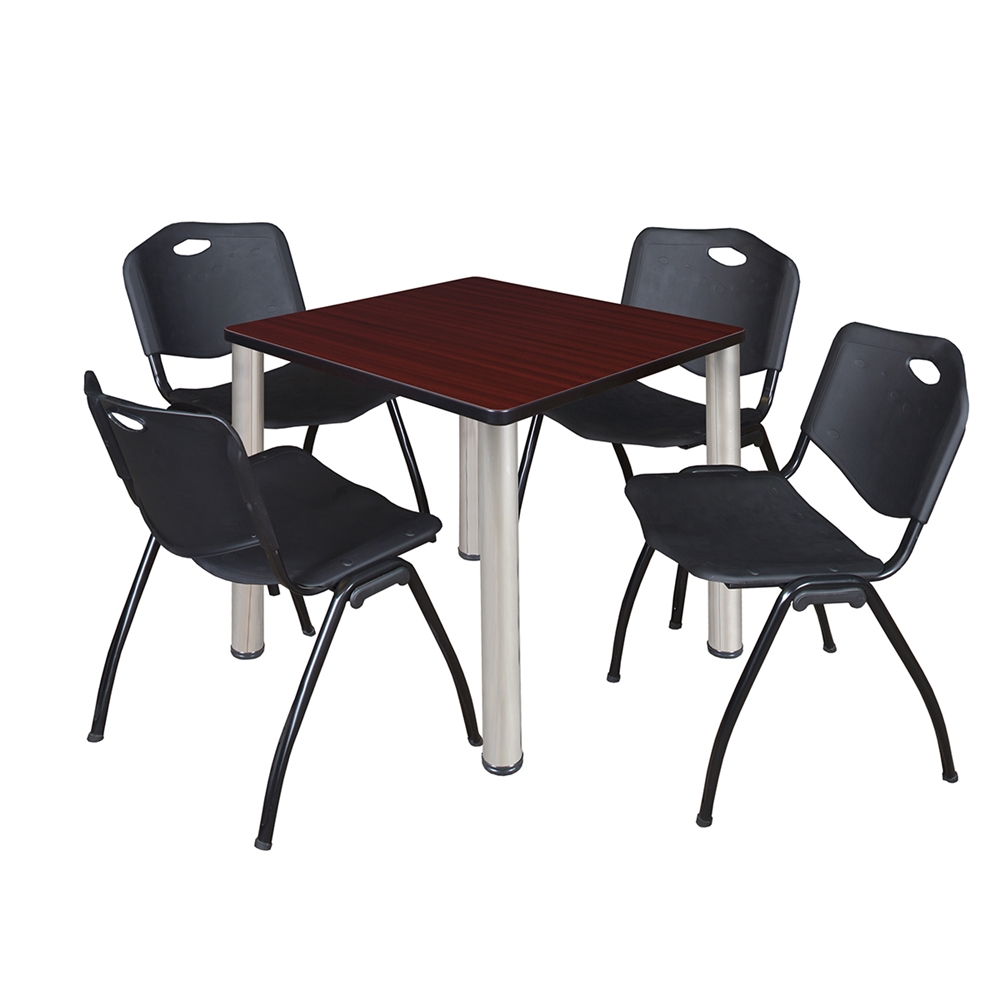 kee 30 square breakroom table mahogany chrome 4 39 m 39 stack chairs black. Black Bedroom Furniture Sets. Home Design Ideas