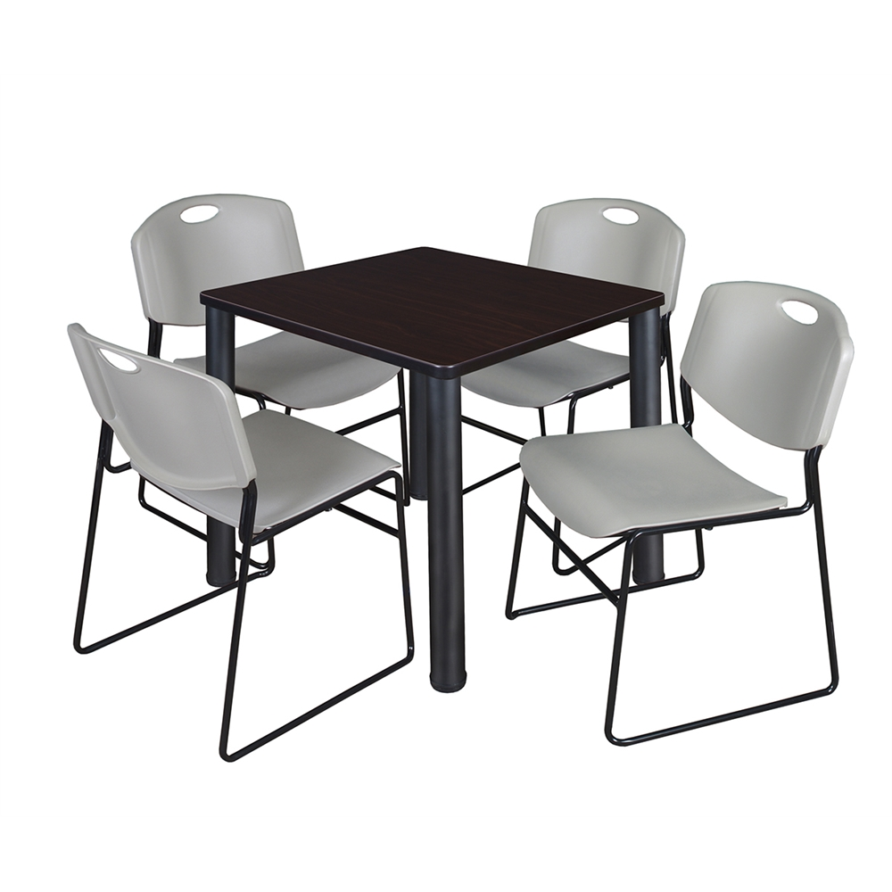 kee 30 square breakroom table mocha walnut black 4 zeng stack chairs grey. Black Bedroom Furniture Sets. Home Design Ideas