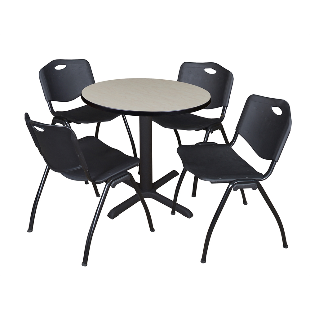 Cain 30 Quot Round Breakroom Table Maple Amp 4 M Stack Chairs