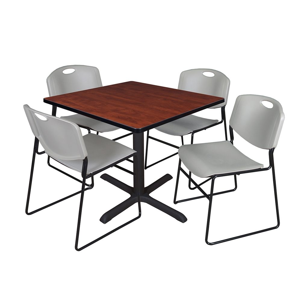 """Cain 36"""" Square Breakroom Table- Cherry & 4 Zeng Stack Chairs- Grey. Picture 1"""