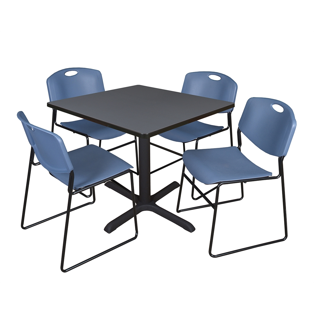 """40 X 40 X 40 Square Coffee Table Ac4 Laminate Floor: Cain 36"""" Square Breakroom Table- Grey & 4 Zeng Stack"""