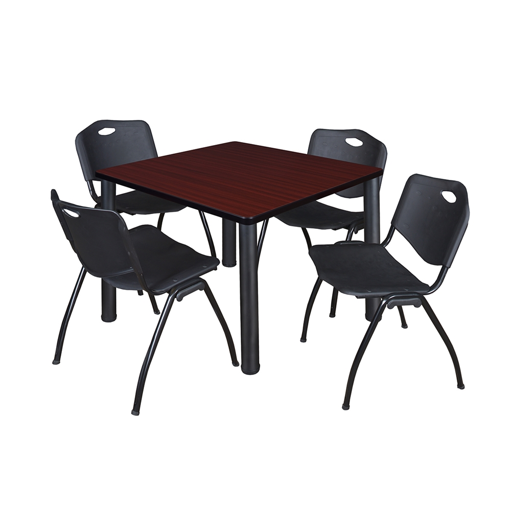"""Kee 36"""" Square Breakroom Table- Mahogany/ Black & 4 'M' Stack Chairs- Black"""