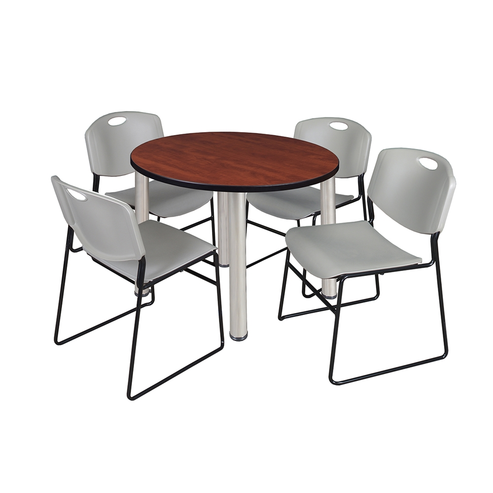 Kee 36 round breakroom table cherry chrome 4 zeng stack chairs grey - Types of tables for living room and brief buying guide ...