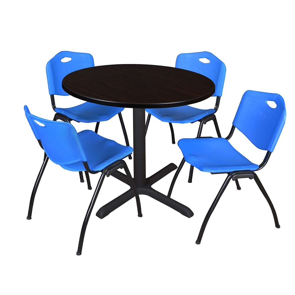 cain 36 round breakroom table mocha walnut 4 39 m 39 stack chairs blue. Black Bedroom Furniture Sets. Home Design Ideas