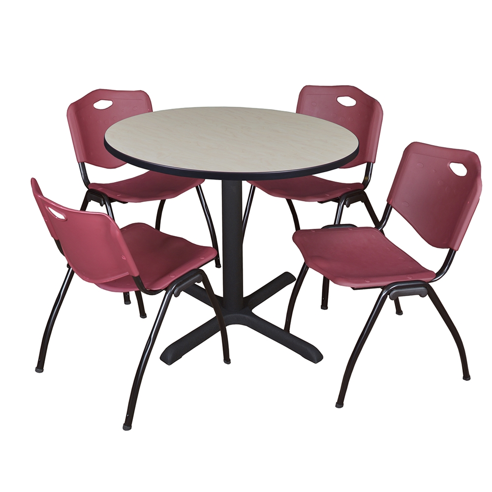 cain 36 round breakroom table maple 4 39 m 39 stack chairs burgundy. Black Bedroom Furniture Sets. Home Design Ideas