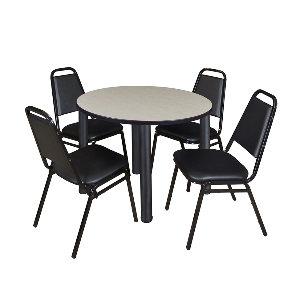 Kee 36 Quot Round Breakroom Table Maple Black Amp 4 Restaurant