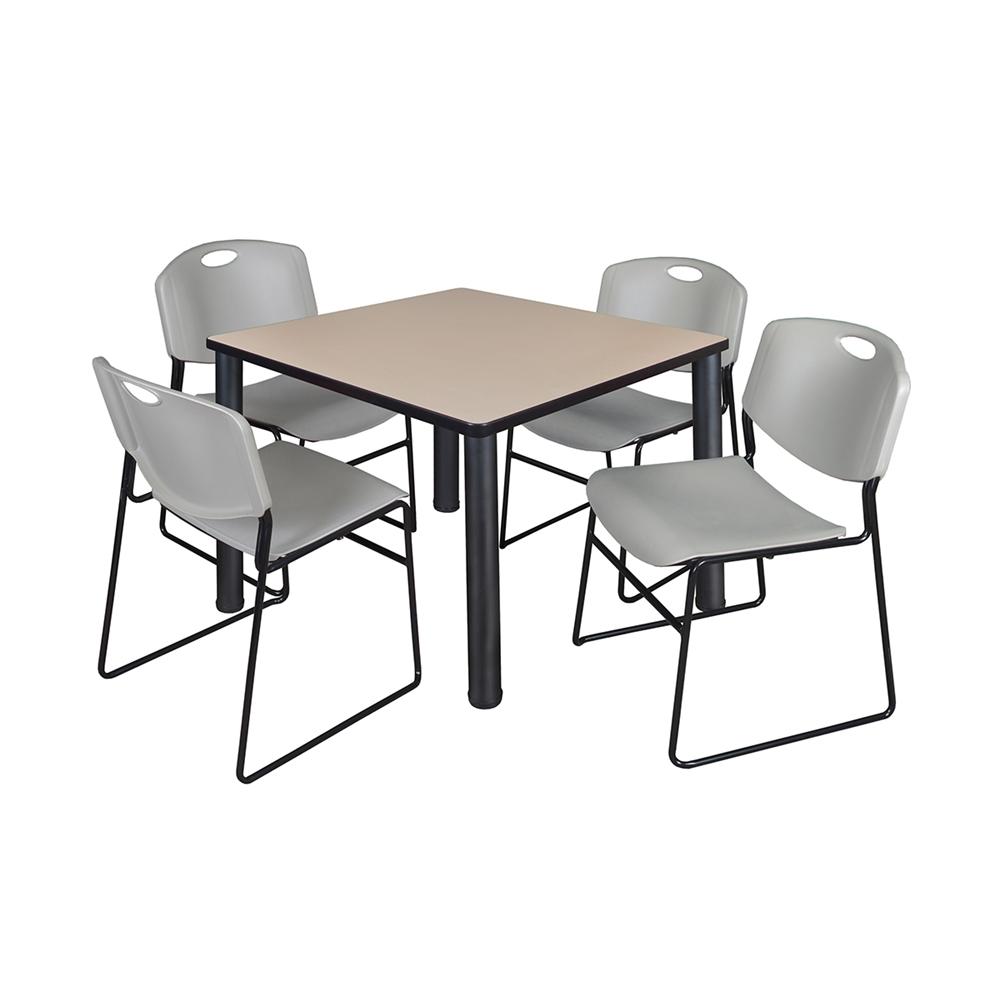 Kee 42 Quot Square Breakroom Table Beige Black Amp 4 Zeng