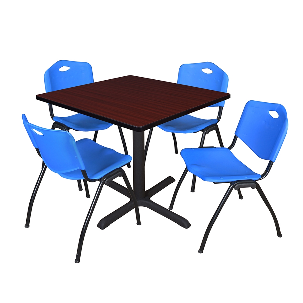 cain 42 square breakroom table mahogany 4 39 m 39 stack chairs blue. Black Bedroom Furniture Sets. Home Design Ideas