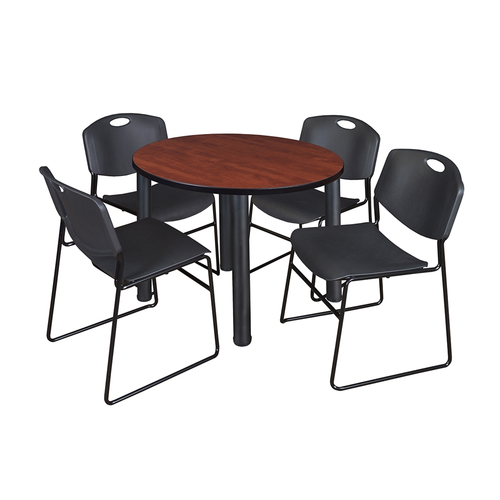Kee 42 Round Breakroom Table Cherry Black 4 Zeng Stack