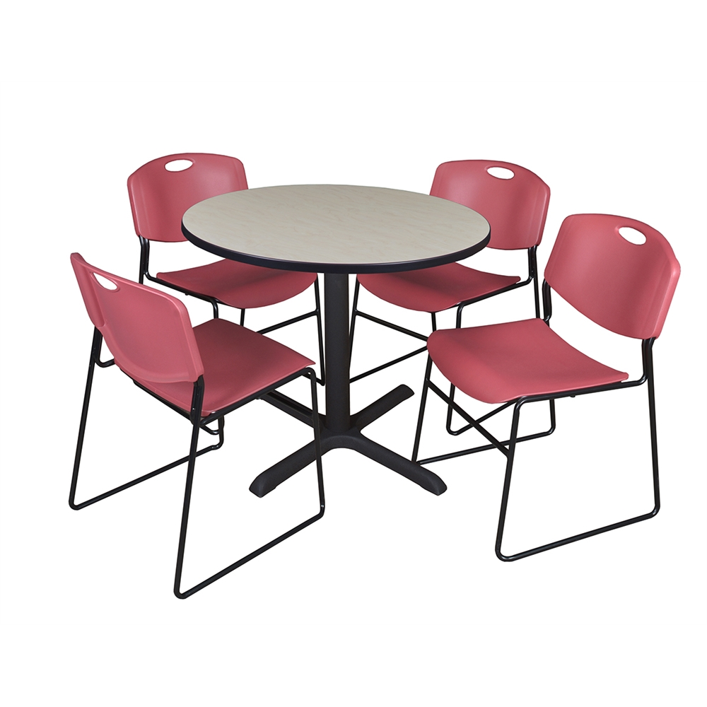 Cain 42 Quot Round Breakroom Table Maple Amp 4 Zeng Stack