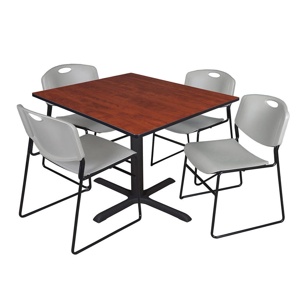 cain 48 square breakroom table cherry 4 zeng stack chairs grey. Black Bedroom Furniture Sets. Home Design Ideas