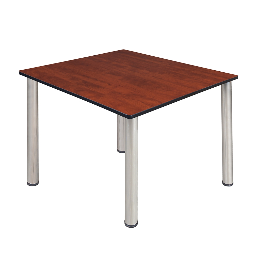 Kee 48 square breakroom table cherry chrome for Table 52 oak brook
