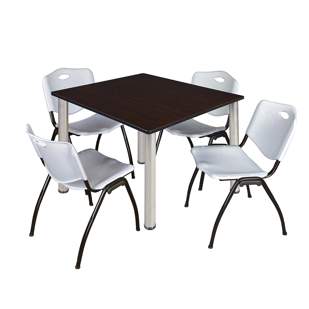Kee 48 Quot Square Breakroom Table Mocha Walnut Chrome Amp 4