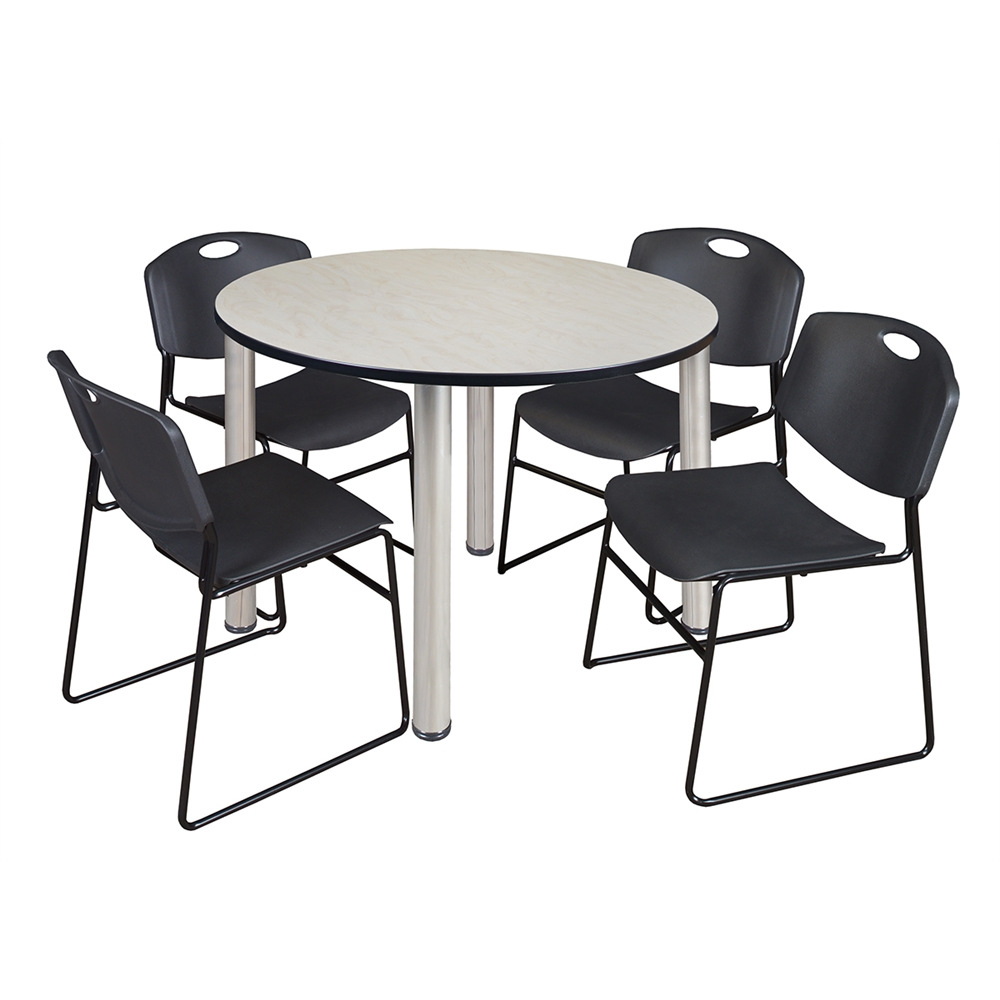 kee 48 round breakroom table maple chrome 4 zeng stack chairs black. Black Bedroom Furniture Sets. Home Design Ideas