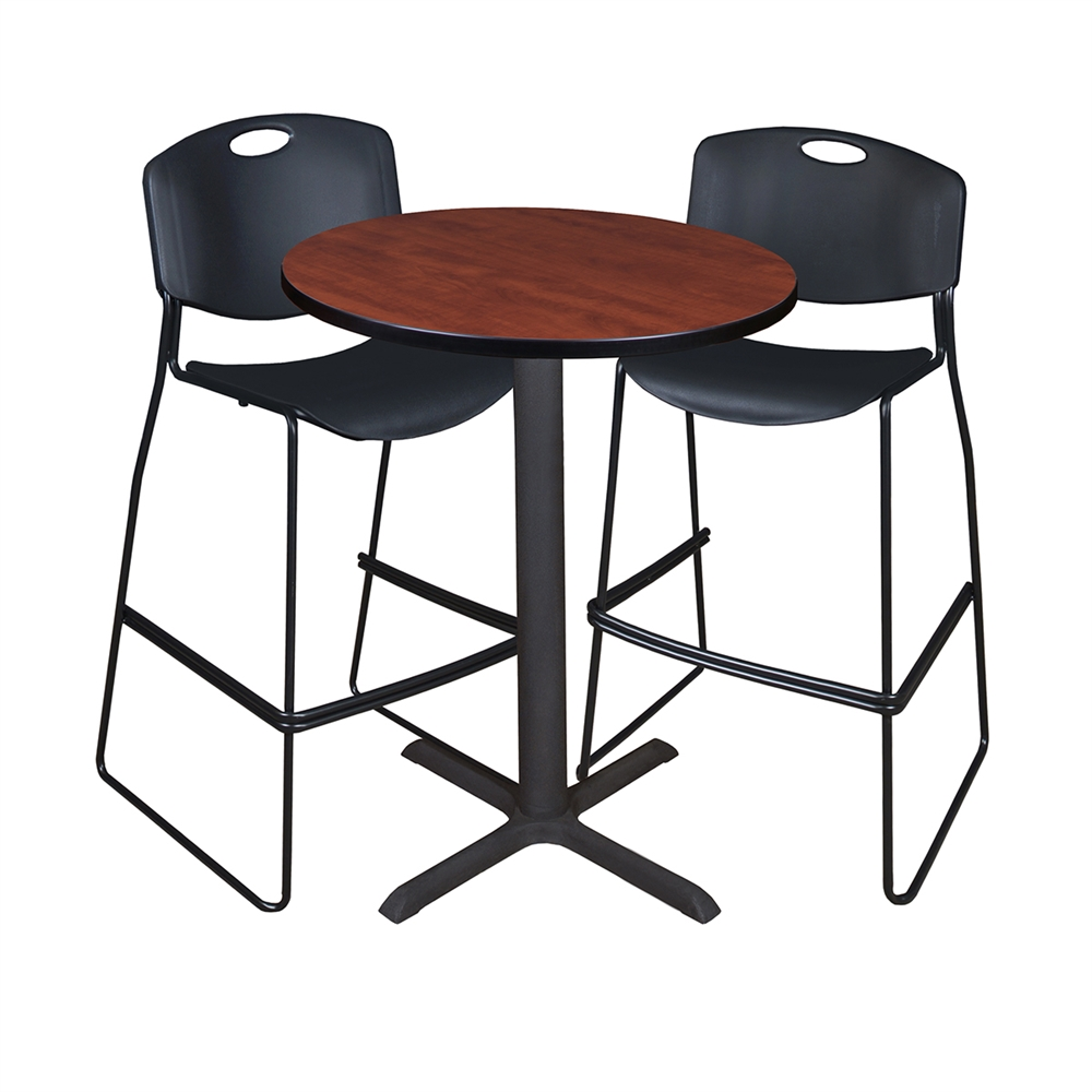 Cain 30 Quot Round Caf 233 Table Cherry Amp 2 Zeng Stack Stools Black