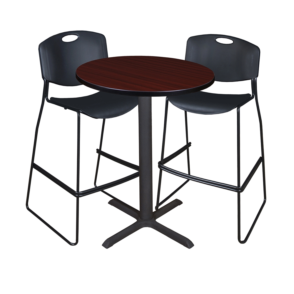 "Cain 30"" Round Café Table- Mahogany & 2 Zeng Stack Stools- Black. Picture 1"