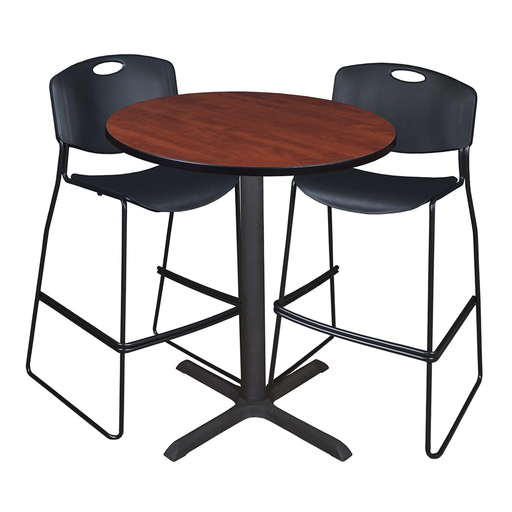 Cain 36 Quot Round Caf 233 Table Cherry Amp 2 Zeng Stack Stools Black