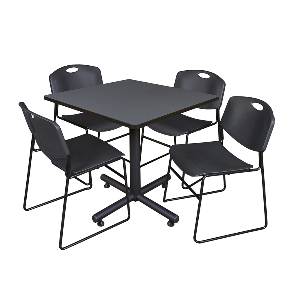kobe 36 square breakroom table grey 4 zeng stack chairs black. Black Bedroom Furniture Sets. Home Design Ideas
