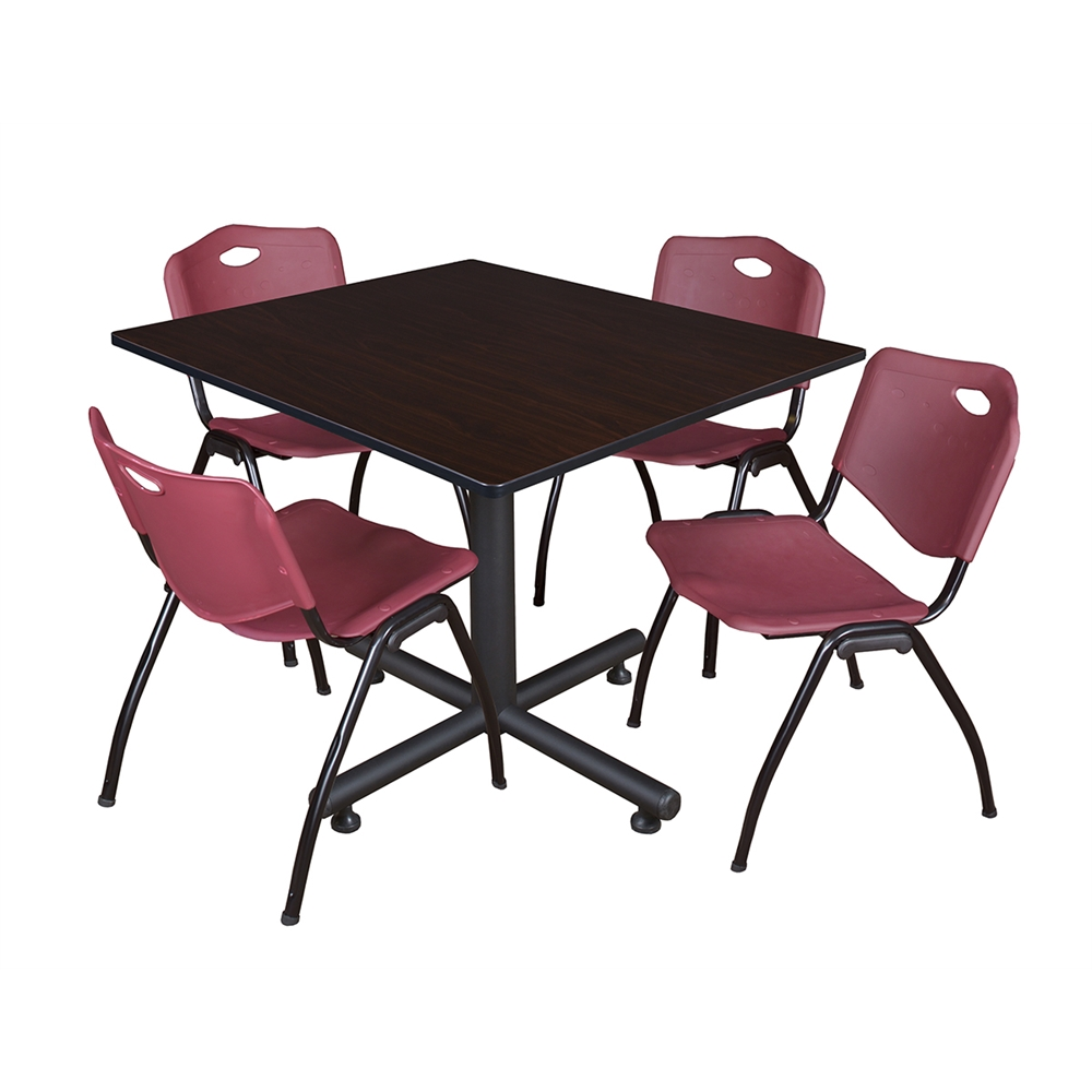 kobe 48 square breakroom table mocha walnut 4 39 m 39 stack chairs burgundy. Black Bedroom Furniture Sets. Home Design Ideas