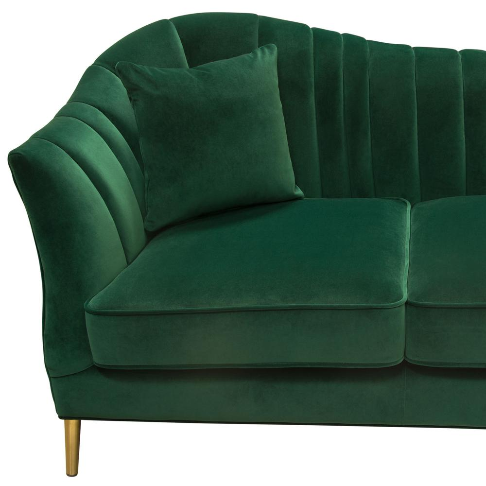 Ava Sofa In Emerald Green Velvet W Gold Leg By Diamond Sofa