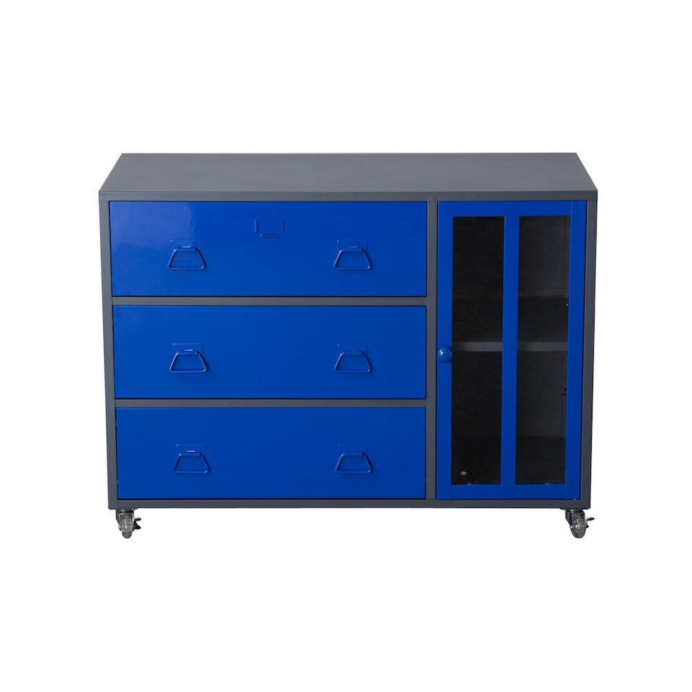 1 door 3 drawer castered storage cabinet with tempered for 1 door storage cabinet