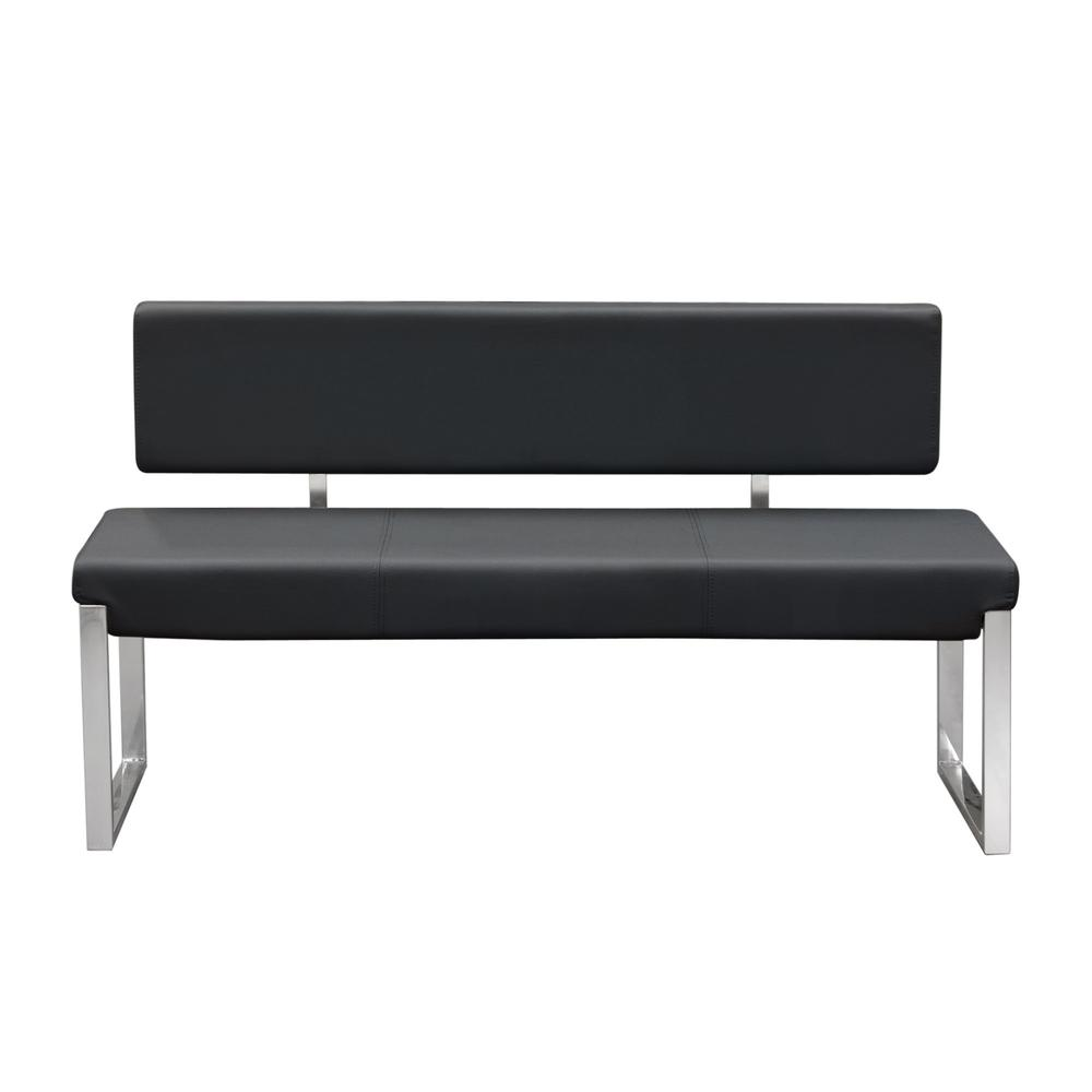 Knox Bench w/ Back & Stainless Steel Frame  - Black