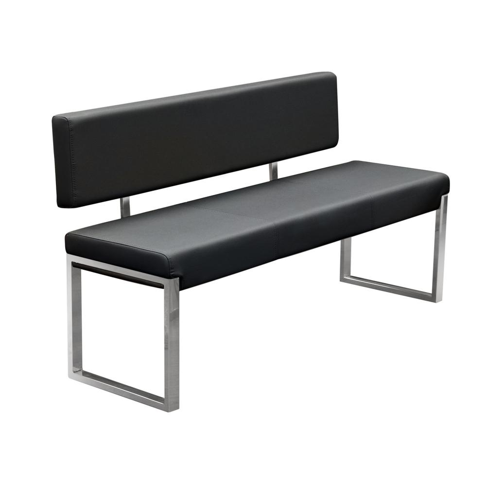Knox Bench w/ Back & Stainless Steel Frame  - Black. Picture 2