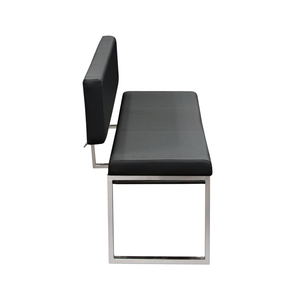 Knox Bench w/ Back & Stainless Steel Frame  - Black. Picture 3