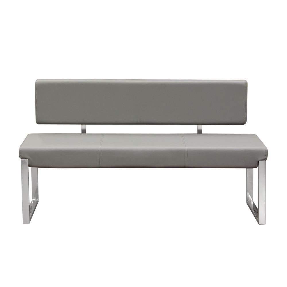 Knox Bench w/ Back & Stainless Steel Frame  - Grey. Picture 1