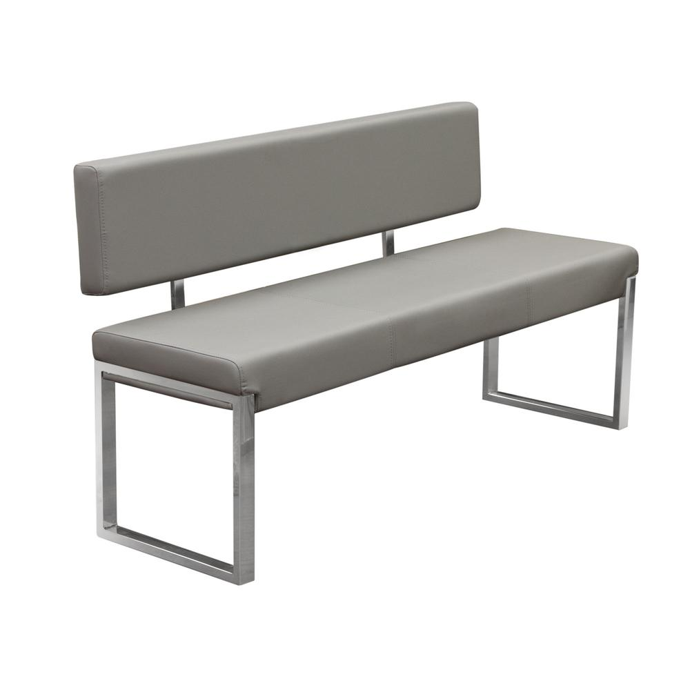Knox Bench w/ Back & Stainless Steel Frame  - Grey. Picture 2