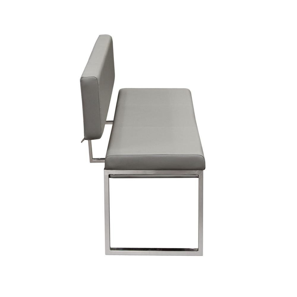 Knox Bench w/ Back & Stainless Steel Frame  - Grey. Picture 3